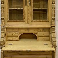 Large Partly Glazed Antique Pine Secretaire (7 of 11)
