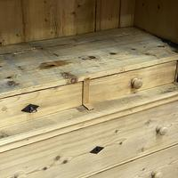 Glazed Antique Pine Cabinet with Chest of Drawers (6 of 7)