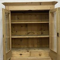 Glazed Antique Pine Cabinet with Chest of Drawers (5 of 7)