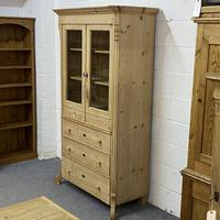 Glazed Antique Pine Cabinet with Chest of Drawers (3 of 7)