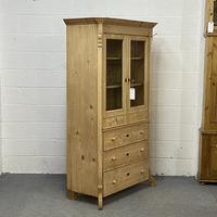 Glazed Antique Pine Cabinet with Chest of Drawers (2 of 7)