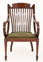 Sheraton Revival Mahogany Inlaid Elbow Chair