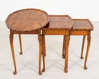 Queen Anne Style Nest of 3 Walnut Tables c.1920 (4 of 9)