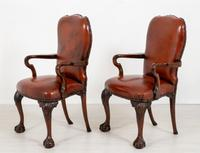 Good Pair of Leather Queen Anne Style Library Chairs (2 of 8)