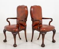 Good Pair of Leather Queen Anne Style Library Chairs (3 of 8)