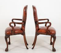 Good Pair of Leather Queen Anne Style Library Chairs (4 of 8)