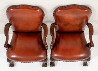 Good Pair of Leather Queen Anne Style Library Chairs (7 of 8)