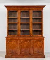 Victorian Walnut 3 Door Library Bookcase (2 of 8)