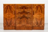Superb Art Deco Figured Walnut Sideboard (3 of 8)