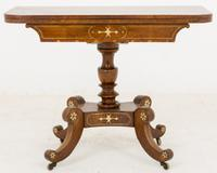 Stunning Regency Hand Cut Brass Inlaid Pollard Oak Tea Table