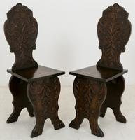 Pair of Lime Wood Carved Italian Hall Chairs c.1880