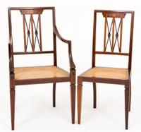 Pair of Sheraton Revival Mahogany Desk Chairs c.1890