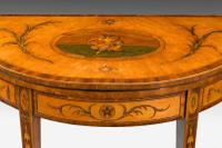 George III Period Satinwood Demilune Card Table (4 of 10)