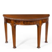 Strongly Designed Early 19th Century Mahogany & Burr Demilune Table