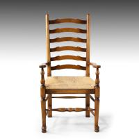 Very Sturdy Set Mid 20th Century of 6 Ladderback Country Chairs (5 of 7)