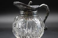 Beautifully Cut Late 19th Century Glass & Silver Plate Jug (3 of 3)