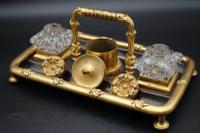 Charming Late 19th Century Gun Metal Gilt Bronze Encrier (3 of 4)