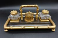 Charming Late 19th Century Gun Metal Gilt Bronze Encrier (4 of 4)