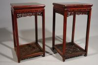 Exceptional Pair of Late 19th Century Hongmu Lamp Tables