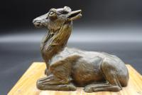 Well Modelled Early 20th Century Continental Bronze Model of a Recumbent Goat (2 of 6)
