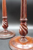Fine Pair of George III Period Mahogany & Brass Candlesticks (5 of 8)