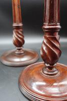 Fine Pair of George III Period Mahogany & Brass Candlesticks (2 of 8)