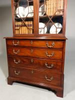 Small Chippendale Period Glazed Bookcase on Chest (7 of 10)