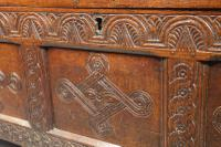Large & Well Carved 17th Century Four Panelled Coffer (2 of 7)