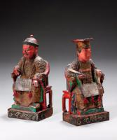 Pair of Polychrome 18th Century Seated Chinese Figures (2 of 4)