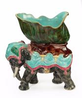 Late 19th Century Majolica Pottery Elephant Caparisoned with a Jardinière (2 of 8)