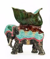 Late 19th Century Majolica Pottery Elephant Caparisoned with a Jardinière (3 of 8)