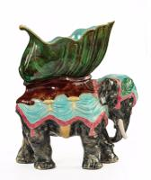 Late 19th Century Majolica Pottery Elephant Caparisoned with a Jardinière (4 of 8)