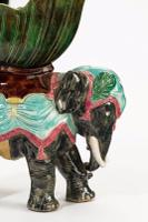 Late 19th Century Majolica Pottery Elephant Caparisoned with a Jardinière (5 of 8)