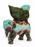 Late 19th Century Majolica Pottery Elephant Caparisoned with a Jardinière (8 of 8)