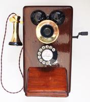 Wooden Telephone as Used on Railway Systems with Bell Receiver