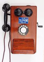 Wooden telephone as used on railway systems with handset