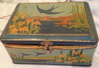 Vintage Large Bluebird Mosaic Biscuit Tin