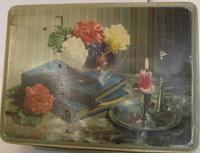 Vintage Scribbans Kemp Flowers & Books Biscuit Tin