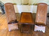 African Coffee Table & Chairs (2 of 10)