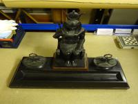 Bronze Ornamental Inkstand in the Egyptian Taste, French Made, 19th Century