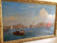 Southport Marine Lake, Oil On Canvas Painting, Philip Thomson Gilchrist C.1904 (4 of 5)
