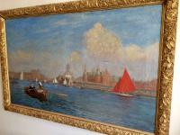 Southport Marine Lake, Oil On Canvas Painting, Philip Thomson Gilchrist C.1904 (3 of 5)