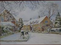 Stow on the wold, Gloc Amazing Country Snow Capped Winter Watercolour Painting