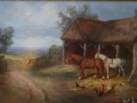 Manner of: William Shayer (1787–1879) Country Farmyard & Horses Oil Painting