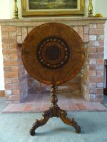 Signed Serrento Italian Antique William IV Period Marquetry Inlaid Tilttop Table