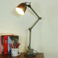 Grey Vintage Industrial Edl Desk Lamp No.2 - Ready To Light Up