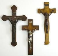 3 Vintage Wood Mounted Crucifixes - Copper, Bronze & Chrome