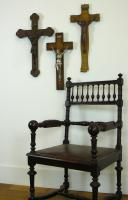 3 Vintage Wood Mounted Crucifixes - Copper, Bronze & Chrome (4 of 17)