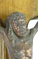 3 Vintage Wood Mounted Crucifixes - Copper, Bronze & Chrome (10 of 17)