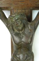 3 Vintage Wood Mounted Crucifixes - Copper, Bronze & Chrome (6 of 17)